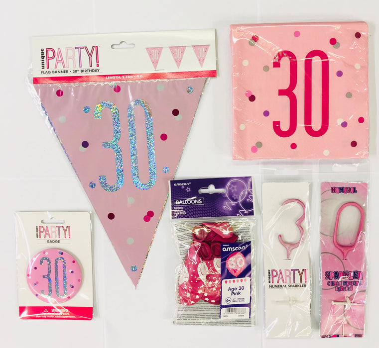 30th Birthday Party Pack - Pink - The Ultimate Balloon & Party Shop