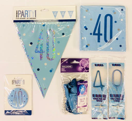 40th Birthday Party Pack - Blue - The Ultimate Balloon & Party Shop