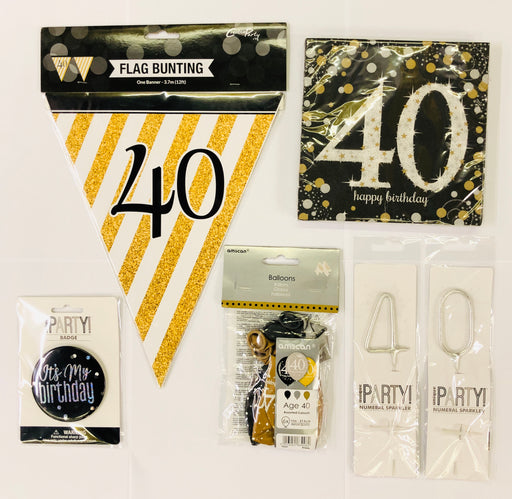 40th Birthday Party Pack - Black/Gold - The Ultimate Balloon & Party Shop