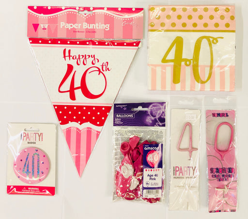 40th Birthday Party Pack - Pink - The Ultimate Balloon & Party Shop