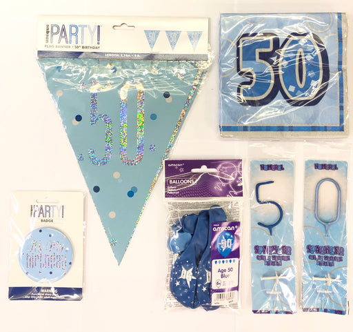 50th Birthday Party Pack - Blue - The Ultimate Balloon & Party Shop