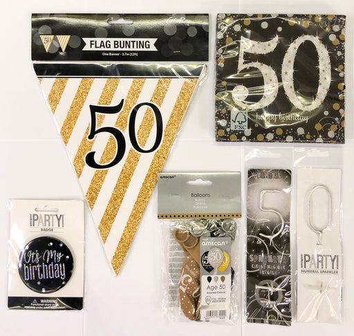 50th Birthday Party Pack - Black/Gold - The Ultimate Balloon & Party Shop