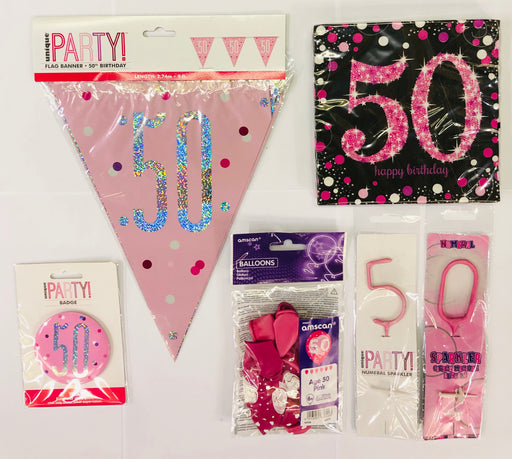 50th Birthday Party Pack - Pink - The Ultimate Balloon & Party Shop