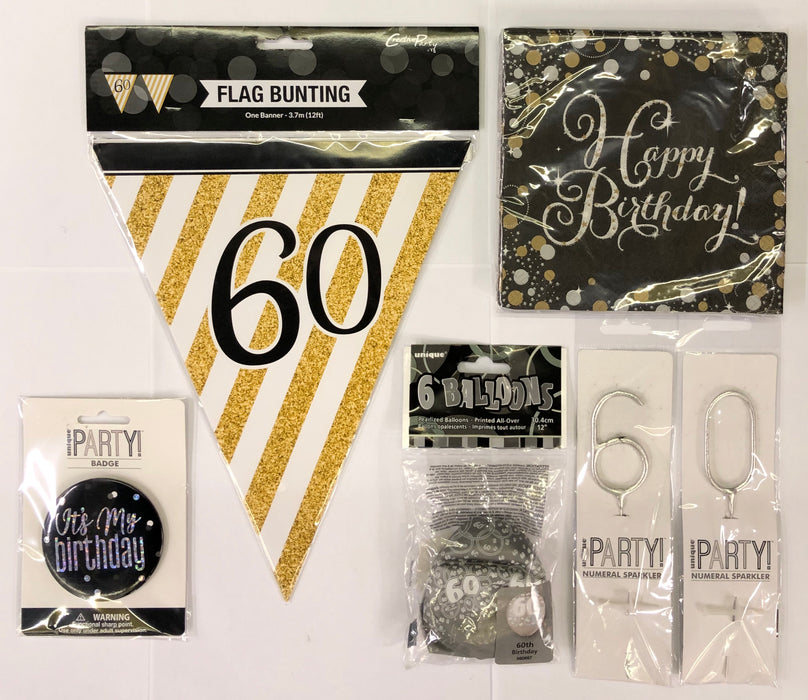 60th Birthday Party Pack - Black/Gold - The Ultimate Balloon & Party Shop