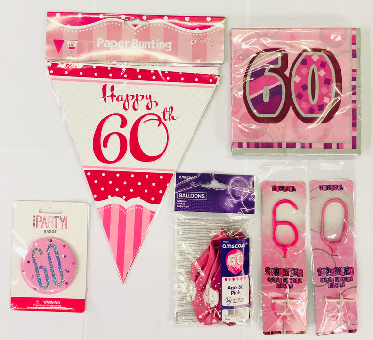 60th Birthday Party Pack - Pink - The Ultimate Balloon & Party Shop
