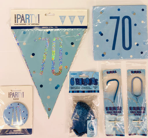 70th Birthday Party Pack - Blue - The Ultimate Party Shop
