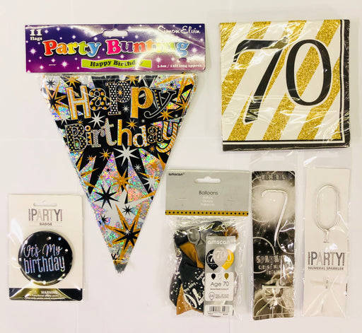 70th Birthday Party Pack - Black/Gold - The Ultimate Balloon & Party Shop