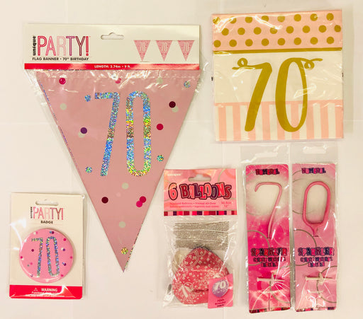 70th Birthday Party Pack - Pink - The Ultimate Balloon & Party Shop