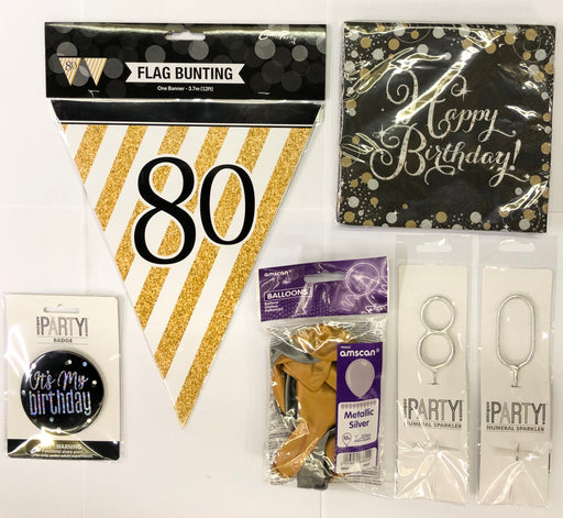 80th Birthday Party Pack - Black/Gold - The Ultimate Balloon & Party Shop