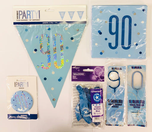 90th Birthday Party Pack - Blue - The Ultimate Balloon & Party Shop