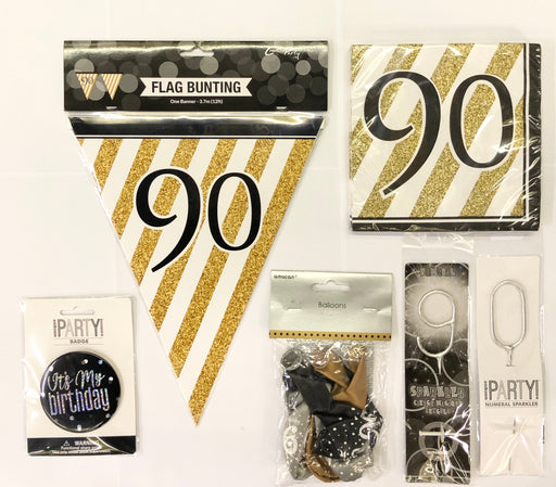 90th Birthday Party Pack - Black/Gold - The Ultimate Balloon & Party Shop