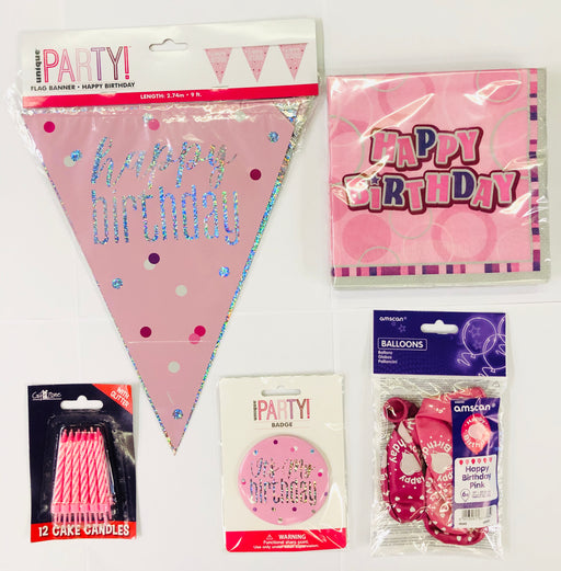 Happy Birthday Party Pack - Pink - The Ultimate Party Shop