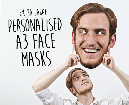 Personalised Face Mask on elastic - Supersize A3 size £6.99 each (2pack) - The Ultimate Party Shop