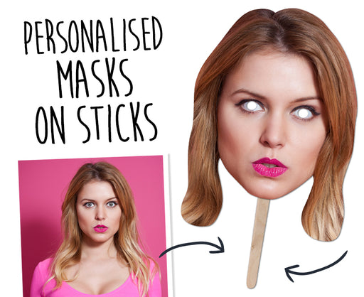 Personalised Face Mask on stick - Regular A4 size £3.99 ea (4 pack) - The Ultimate Party Shop
