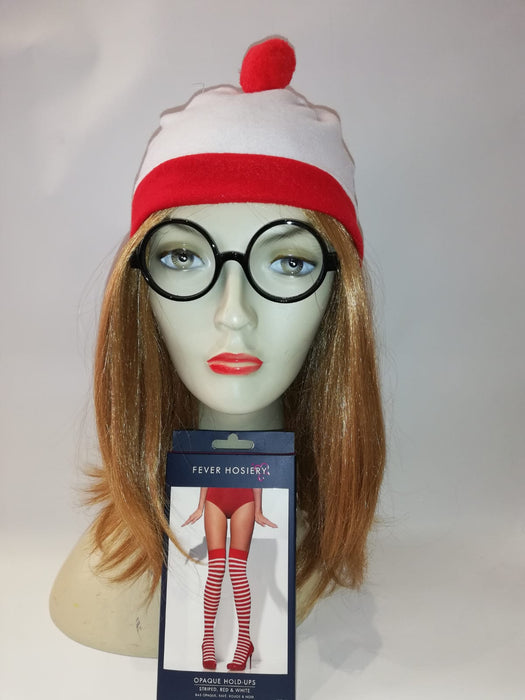 Wheres Wally Instant Fancy Dress Set - FEMALE - The Ultimate Party Shop