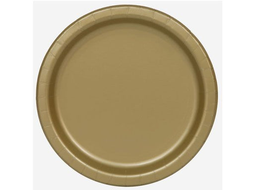 Round Paper Plates - Gold - The Ultimate Balloon & Party Shop