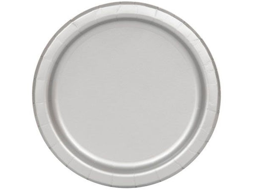 Round Paper Plates - Silver - The Ultimate Party Shop