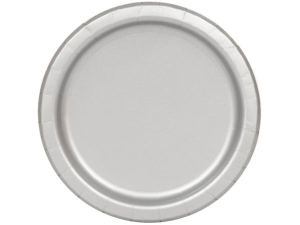 Round Paper Plates - Silver - The Ultimate Balloon & Party Shop