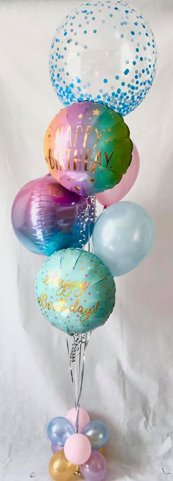Deluxe Pastel bubble and orbz birthday display - The Ultimate Party Shop