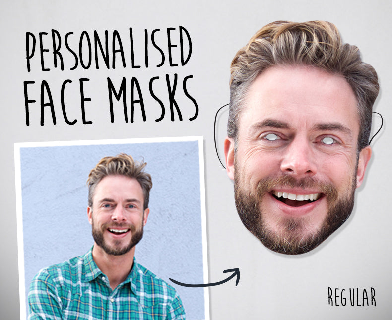 Personalised Face Mask on elastic - Regular A4 size £3.99 (4pack) - The Ultimate Party Shop