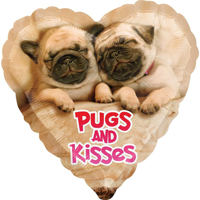 Pugs & Kisses Heart Shaped Foil Balloon - The Ultimate Balloon & Party Shop