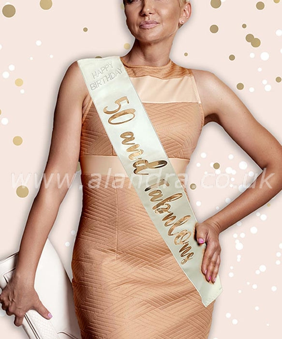 Birthday Sash - Age 50 - Rose Gold - The Ultimate Balloon & Party Shop