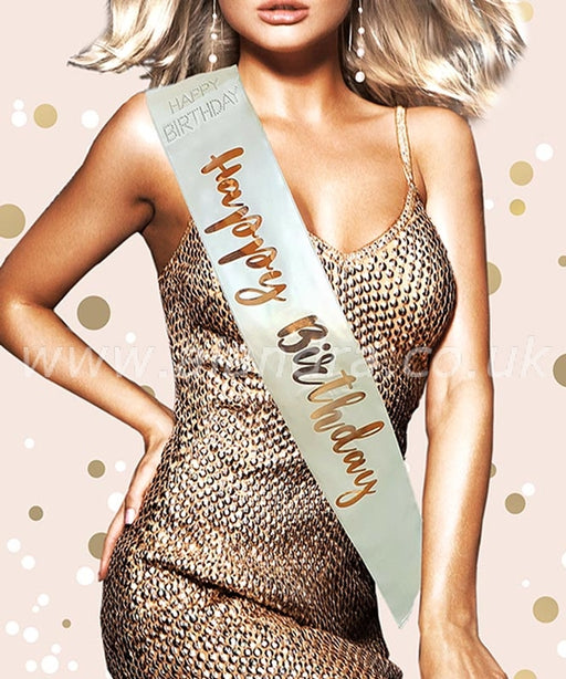 Birthday Sash - Happy Birthday - Rose Gold - The Ultimate Balloon & Party Shop