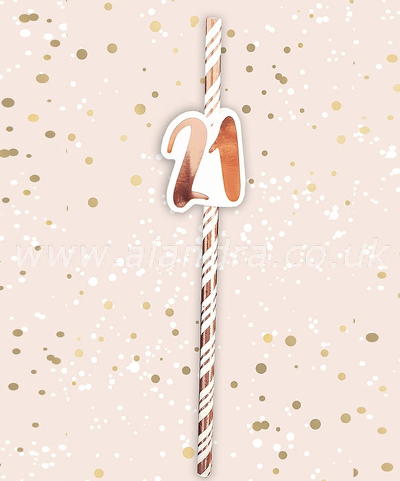 Birthday Paper Straws - Age 21 - The Ultimate Party Shop