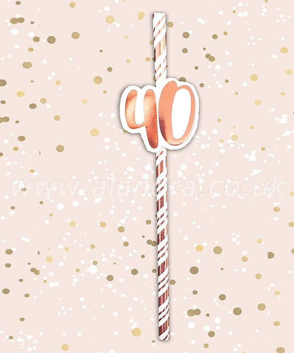 Birthday Paper Straws - Age 40 - The Ultimate Party Shop