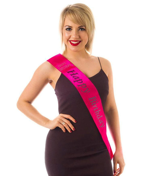 Birthday Sash - Happy Birthday - Hot Pink - The Ultimate Balloon & Party Shop