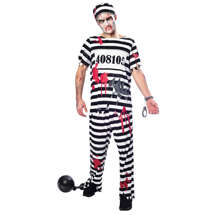 Male Zombie Convict Costume - The Ultimate Balloon & Party Shop