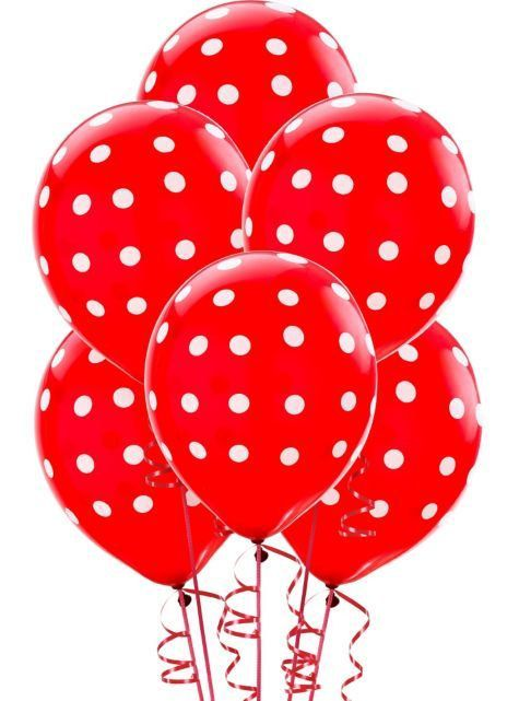 Red Spotty Balloons 6 Pack