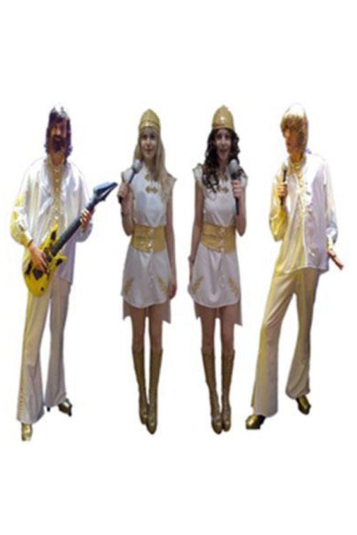 1970s Abba White Suit Hire Costume - The Ultimate Party Shop
