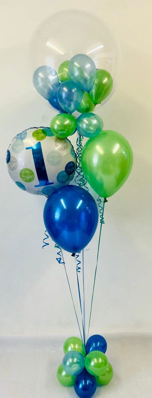 Age 1 Blue & Green Bubble Balloon Bouquet - The Ultimate Balloon & Party Shop