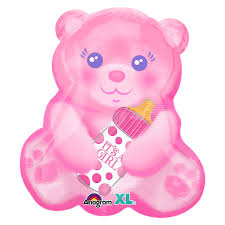 "16"" Foil It's A Girl Bear Jr Shape Balloon - The Ultimate Party Shop"