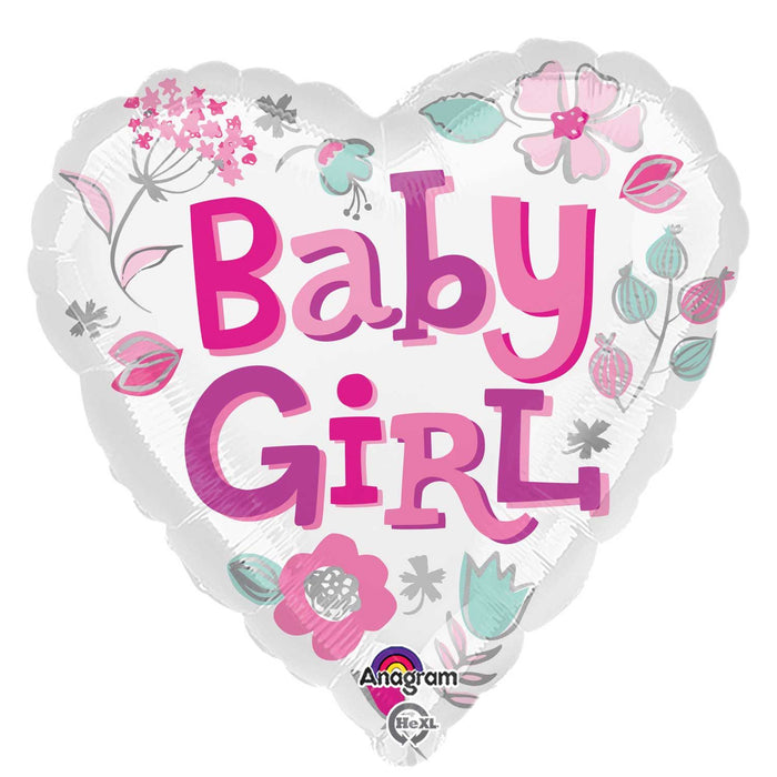 "18"" Foil Baby Girl Heart Balloon"
