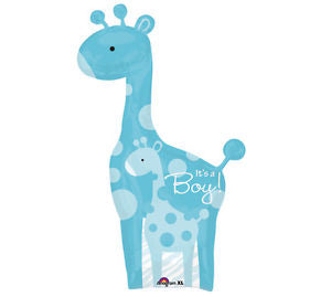 "42"" Foil It's A Boy Giraffe Large Printed Balloon - The Ultimate Party Shop"