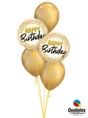 Happy Birthday Balloon Display - Gold - The Ultimate Party Shop