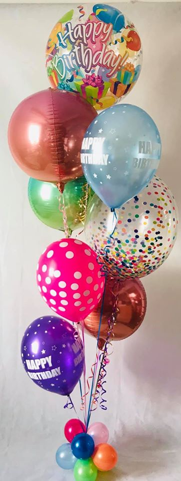 Deluxe bubblicous and orbz birthday display - multi top - The Ultimate Balloon & Party Shop