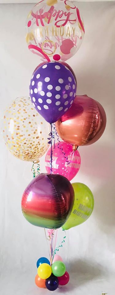Deluxe bubblicous and orbz birthday display - pink top - The Ultimate Party Shop