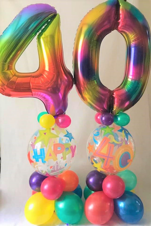 Giant number on bubble pillar multi colours - The Ultimate Balloon & Party Shop