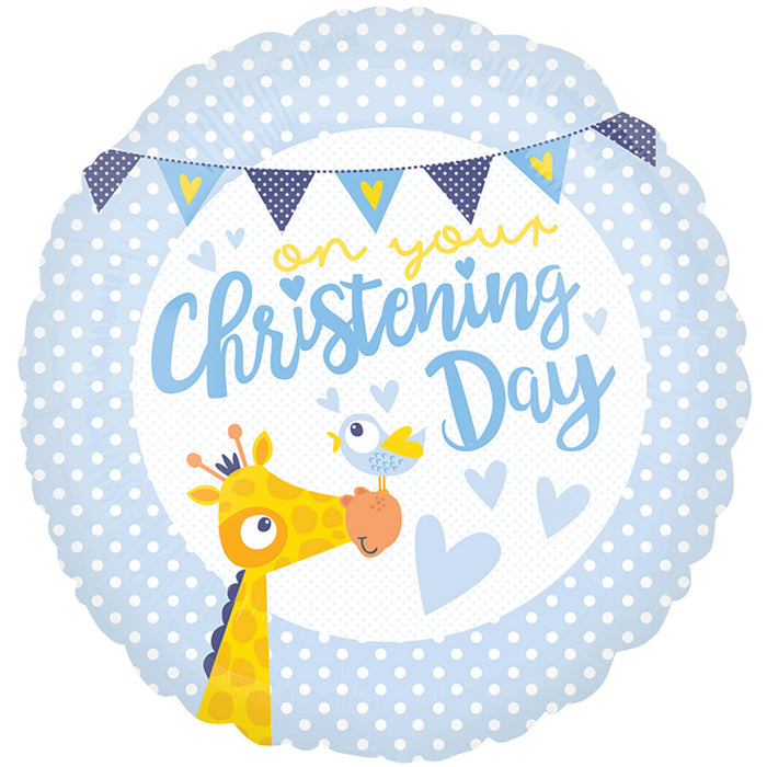 "18"" Foil Christening Day Blue Animal Balloon"