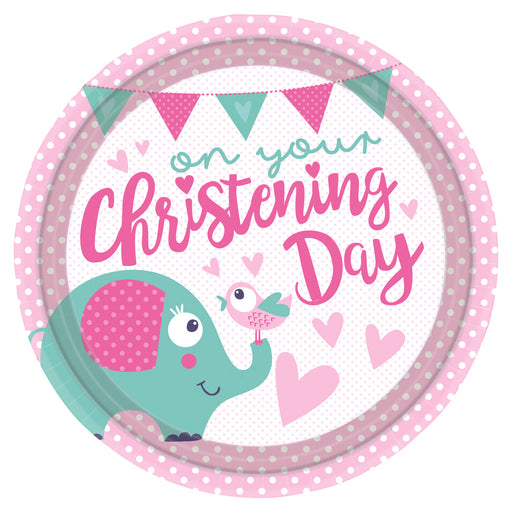 "18"" Foil Christening Day Pink Animal Balloon"