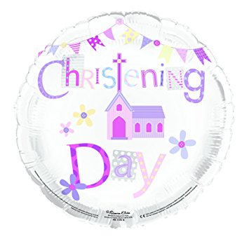 "18"" Foil Christening Day Pink Balloon"