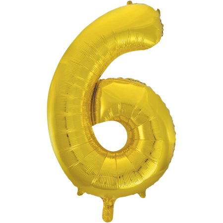 Number 6 Foil Balloon Gold