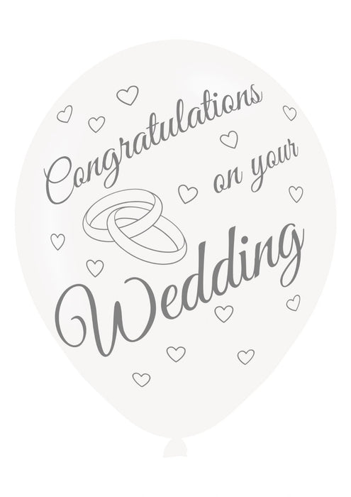 Congrats On Wedding Printed Balloons 6 Pack - The Ultimate Party Shop
