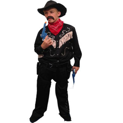 Cowboy Rhinestone Hire Costume - Black - The Ultimate Party Shop
