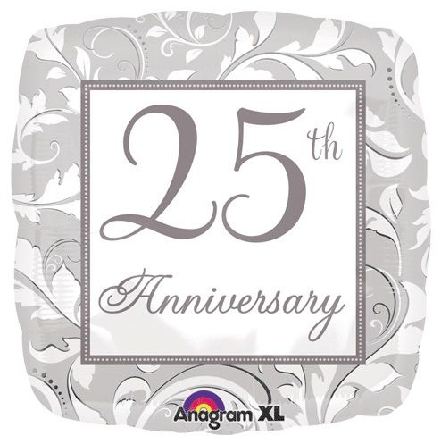 "18"" Foil 25th Silver Anniversary Balloon - The Ultimate Party Shop"
