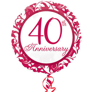 "18"" Foil 40th Ruby Wedding Anniversary Balloon - The Ultimate Party Shop"