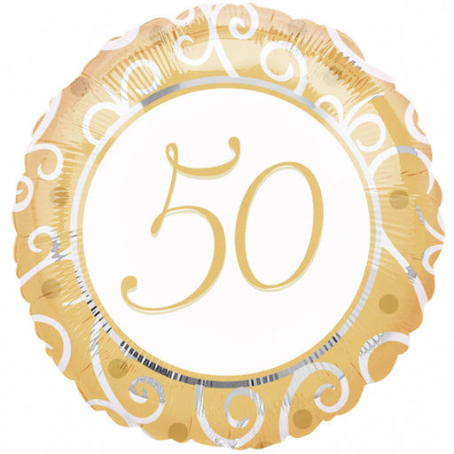 "18"" Foil 50th Golden Wedding Anniversary Balloon - The Ultimate Party Shop"